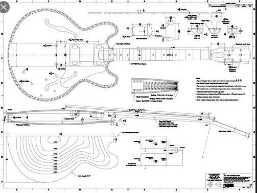 Plan of an electric guitar